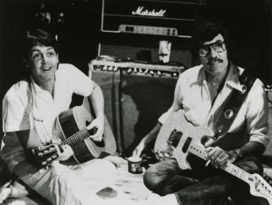 "Macca and Carl Perkins during the ""Tug of War"" sessions."