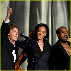 Macca onstage at the Grammys with Rihanna and Kanye West.