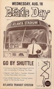 A newspaper ad encouraging fans to take the bus to the concert.