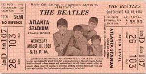 A ticket stub from The Beatles' Atlanta Stadium concert.