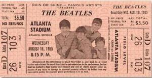 A ticket stub from The Beatles' Atlanta Stadium concert.