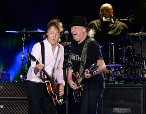 Onstage with Neil Young at Desert Trip. (Kevin Mazur for Desert Trip)