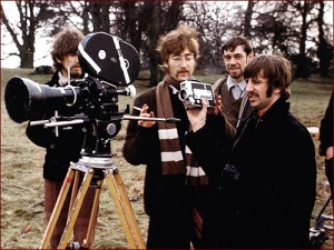 "The Beatles on the set of their promotional film for ""Strawberry Fields Forever."""